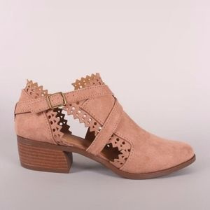 New Qupid booties ankle boots cutout strappy rose